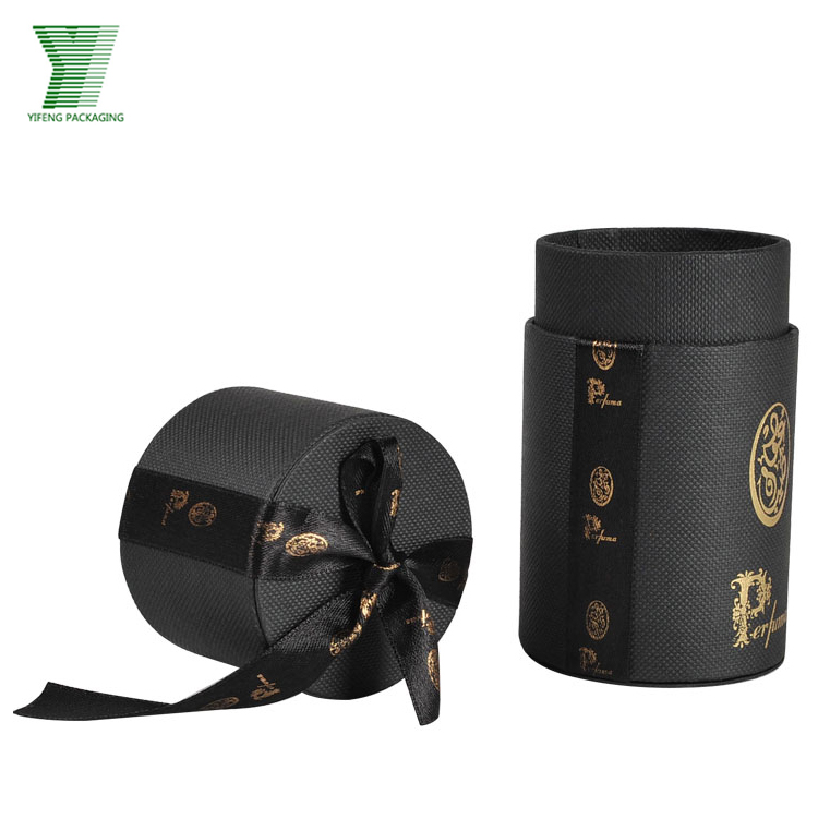 Luxury Design Black Ribbon Custom Printed Tube Tea Box