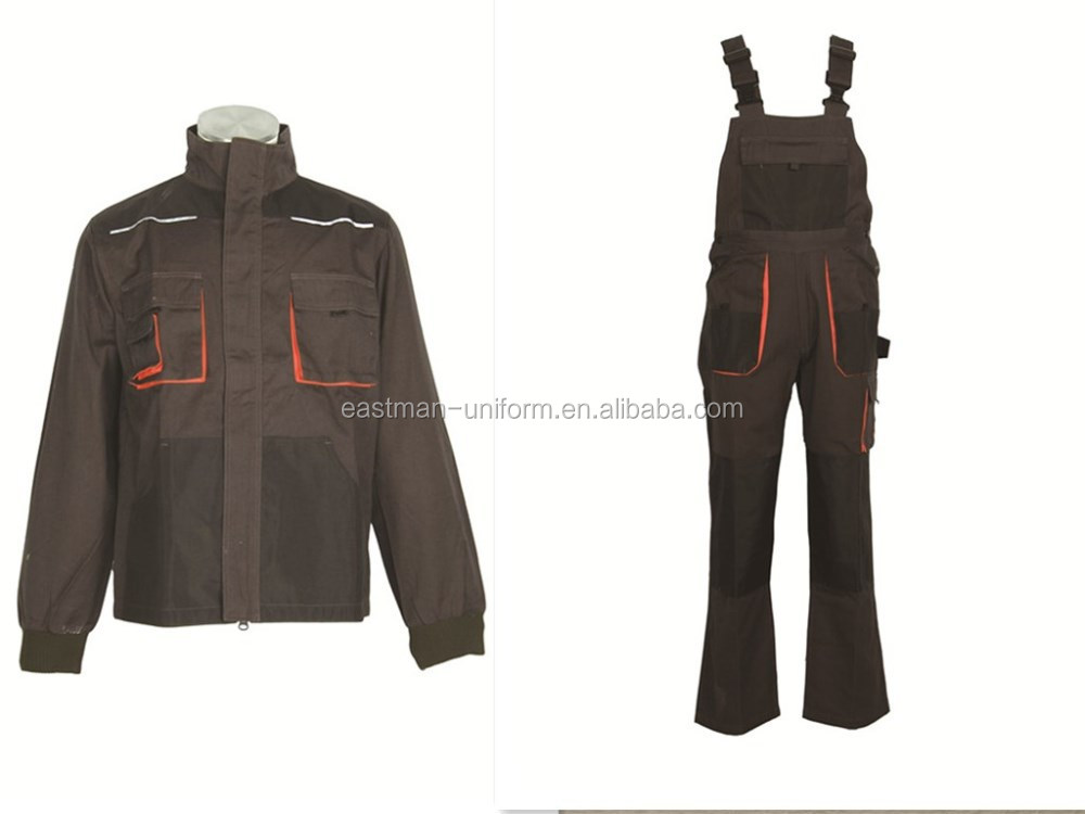 T/C custom new design multifunctional workwear canvas jackets and bib pants /cheap hotsale common breathable working uniform