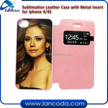 2014 New Product Sublimation Flip Mobile Phone Case With Window for IP 4/4s