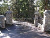 GYD-15G0163 Stony posts construction wrought iron main gates and fences