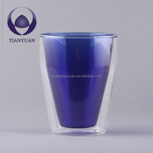 Hand blown color insulated heat resistant glass coffee cup