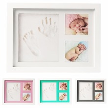 Clay Handprint &Footprint Baby Pictures Frame Wooden Baby Handprint Photo Frame