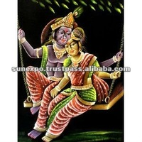 "Indian Hindu God Goddess Radha & Krishna Handmade Tapestry Deity Art Oil Painting on Velvet Fabric Wall Hanging 28"" X 22"""