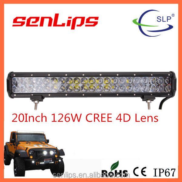 High performance 126W 20inch 10500LM 4D Lens led light bar C-REE chip leds for all vehicle