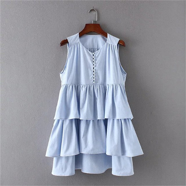 2017 Women Vintage Laminated Decoration Ruffle V Neck Mini Dress Elegant Vestidos Sexy Sleeveless Striped Casual Dresses