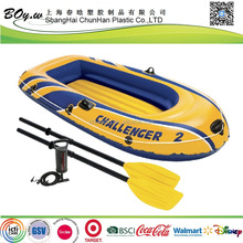 ICTI factory hot sale whole set paddles & air pump OEM logo print pool pvc inflated boat