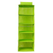 closet non woven fabric foldable hanging storage box with six grid