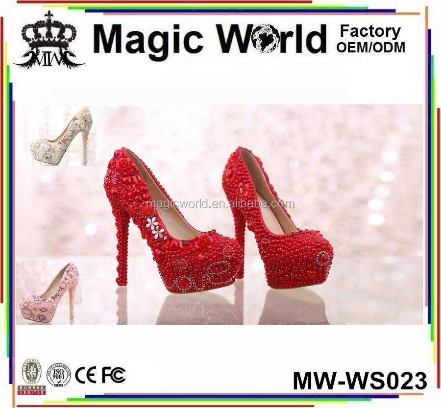 HIGH HEEL SEXY WOMEN red rhinestone wedding shoes