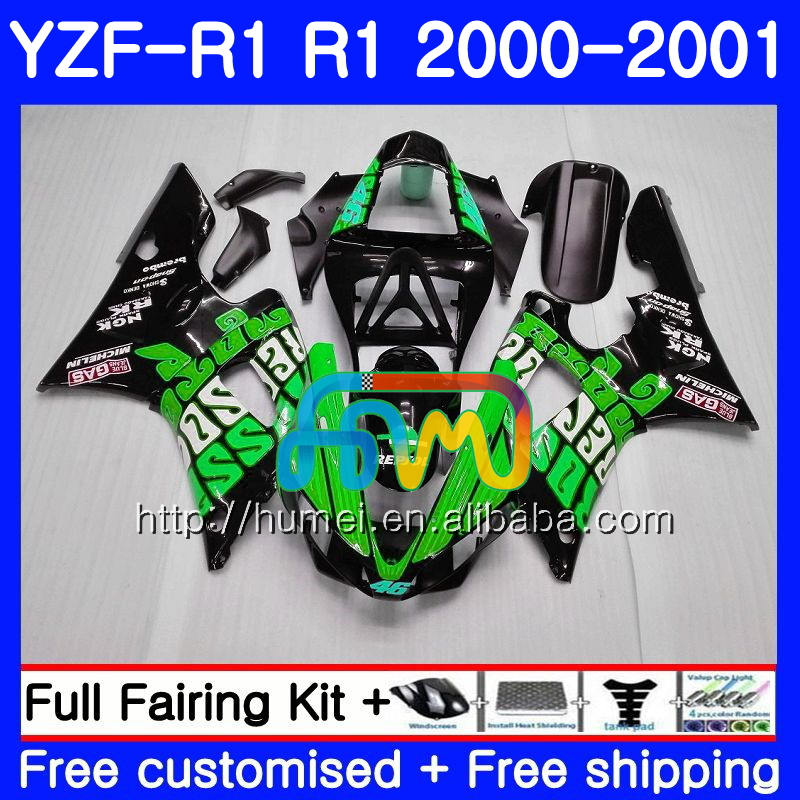 Bodywork For YAMAHA YZF 1000 YZF-<strong>R1</strong> 2000 <strong>2001</strong> Repsol green Body 98HM8 YZF1000 YZF R 1 YZFR1 00 01 YZF-1000 YZF <strong>R1</strong> 00 01 Fairing