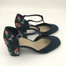 Women T Strap Mary Jane embroider High Heels Pumps Shoes
