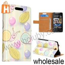 Wallet Style Blue Cute Snails Folio Magnetic Flip Stand Leather Case for HTC Desire 310 with Card Slot