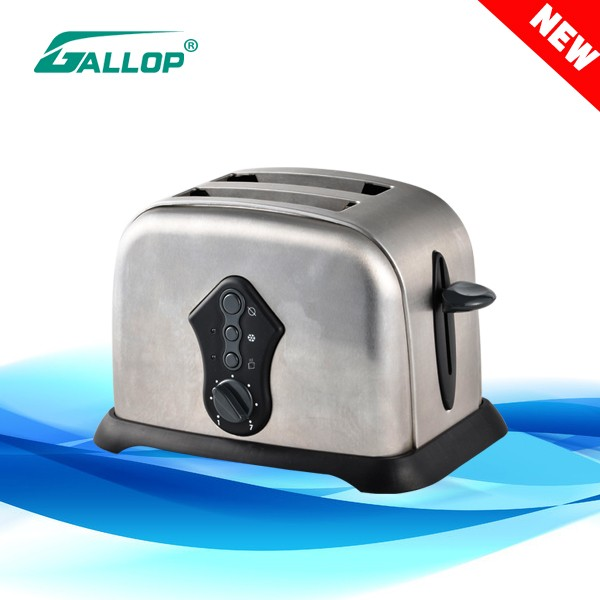 2016 Gallop Factory price 2 Slice bread Toaster detachable crumb tray stainless steel oven JX-T3208