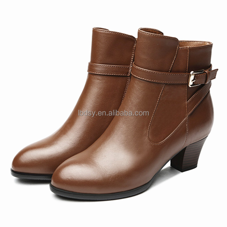 Ladies roman boots high quailty low heel pu boots shoes women winter