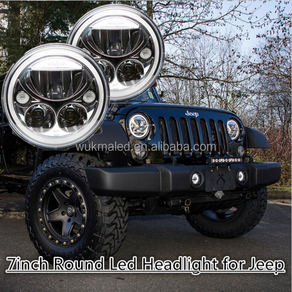 DOT / E-Mark Vortex 7 Inch White 6000K For 97-16 Jeep Wrangler JK LJ CJ Offroad LED Headlight