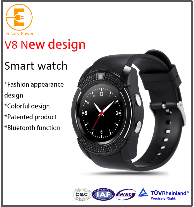 Factory Selling V8 high quality smart watch sim card android full round screen fashion design bluetooth synchronization
