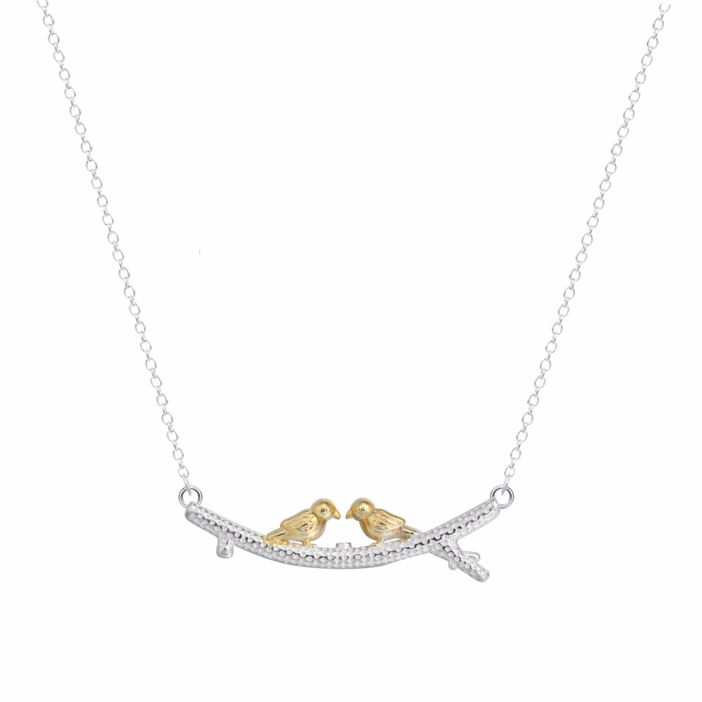 "Delicate Bird 925 Necklace lovely Golden Two Bird on Branch Leaves 16"" Chain Necklace 925 Sterling Silver Women Jewelry"