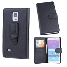 black leather card holder flip wallet phone case for Samsung galaxy Note4 , for Samsung phone case leather