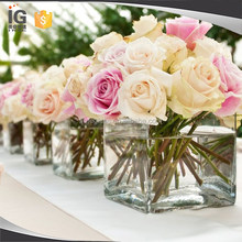 Clear Square Glass Vase Wedding Decor for Sale