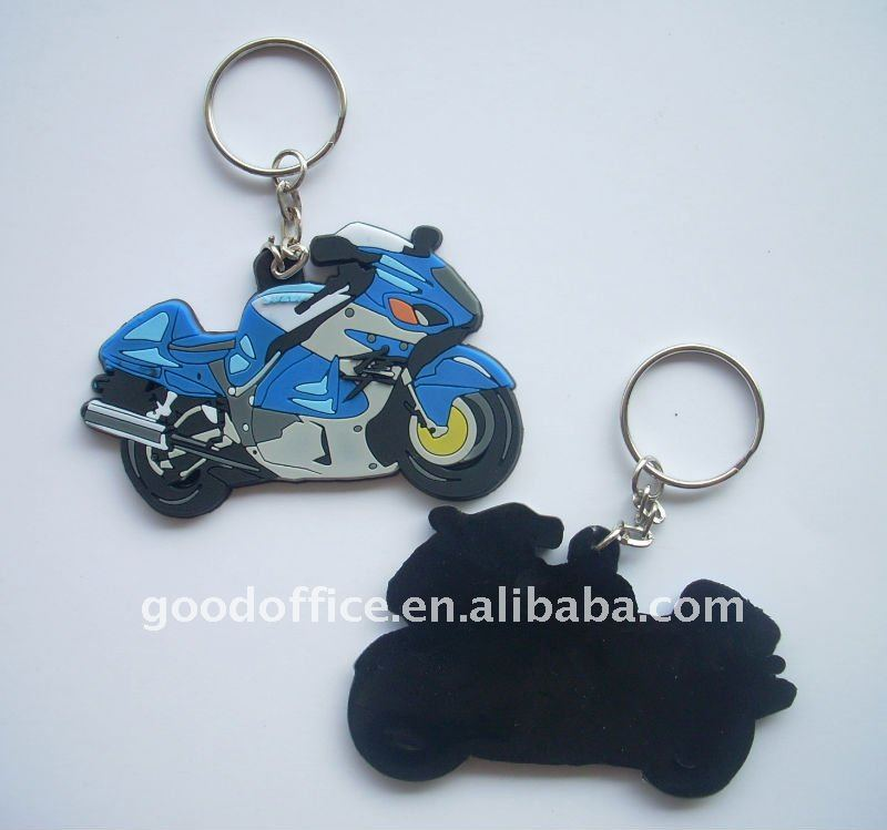 motorcycle shape 3d soft pvc keychains / rubber keychain