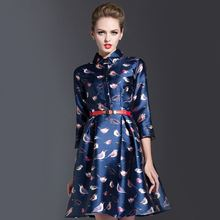 European Woman Satin A-Line Dress 2016 Autumn Femme Robe Vestidos Three-Quarters Sleeve Midi Dress Birds Printing