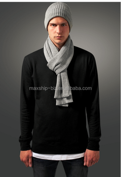 Mens winter acrylic knit scarf hat set