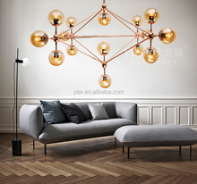 hot selling classic amber glass rose gold hanging balls chandelier