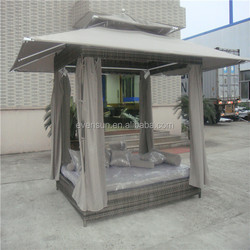 Gazebo shaped rattan outdoor patio furniture outdoor bed