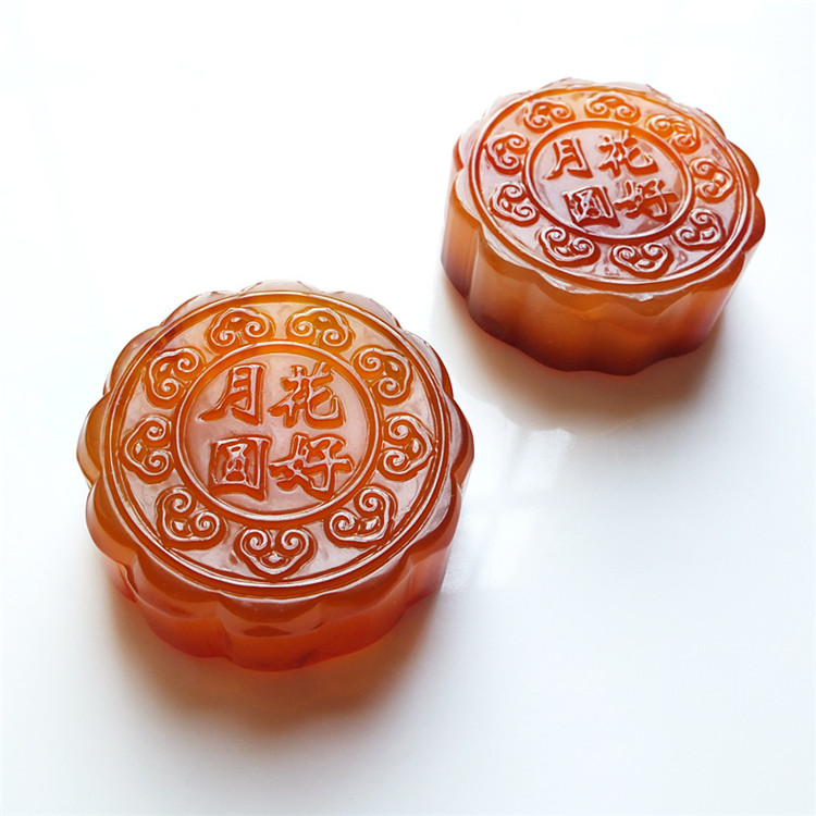 Natural Agate Chalcedony Moon Cake Shape Mid-autumn Gift