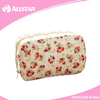 China supplier waterproof small flowers cosmetics bag makeup case for lady