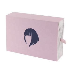 Custom Sliding Drawer Marble Cosmetic Gift Hair Extension Paper Packaging Boxes