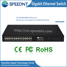 CE/FCC/Rohs security camera 10/100/1000Base-T ports sfp Management switch 24 port gigabit