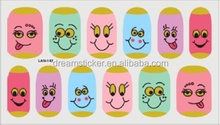 Diffirent colorful expression face lovely cartoon pattern nail art sticker for children