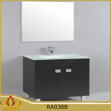 Classic cheap mirrored glass basin free standing MDF bathroom cabinet RA038B