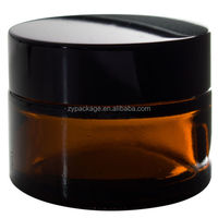 High quality 20ml 50ml 60ml 100ml amber cream bottle, cosmetic jars and lids glass free sample