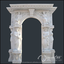 outdoor home decoration stone carving arch door marble frame with figure design