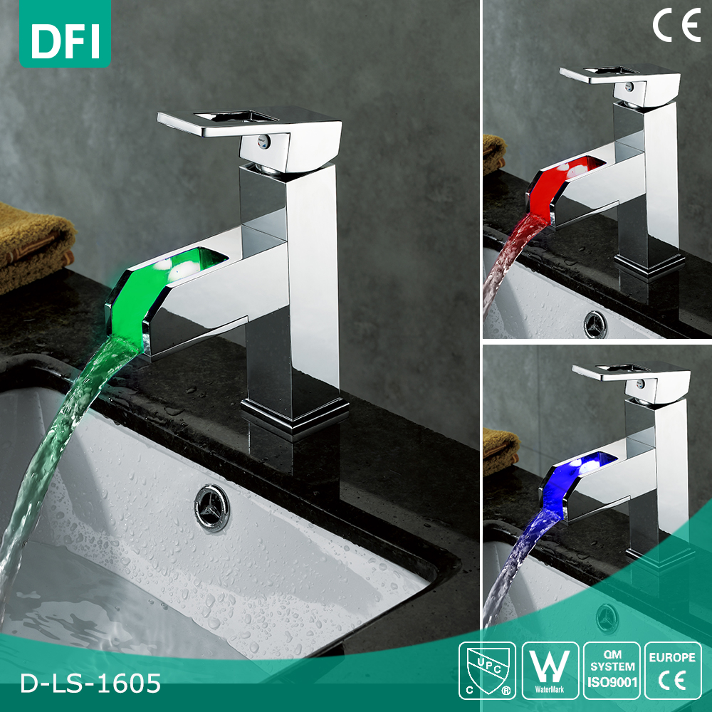 DFI Contemporary Solid Brass Single Handle Widespread LED Waterfall Bathroom Sink Faucet