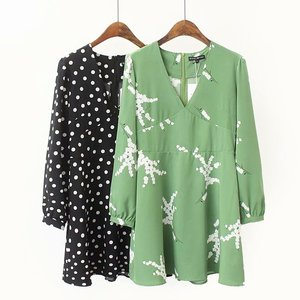 Z52352D Summer Women Fashion Flower Print Deep V Pullover Dress