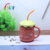 Fruit shape ceramic coffee cup with spoon,strawberry mug with lid