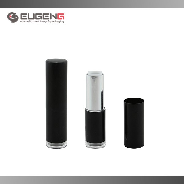 cylindrical plastic shiny black empty lipstick container wholesale