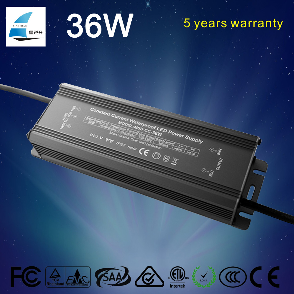 5 years warranty waterproof 36w Constant current led driver 300ma 350ma 600ma 700ma 900ma 1200ma...
