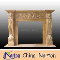 indoor used yellow natural marble fireplace NTMF-F317