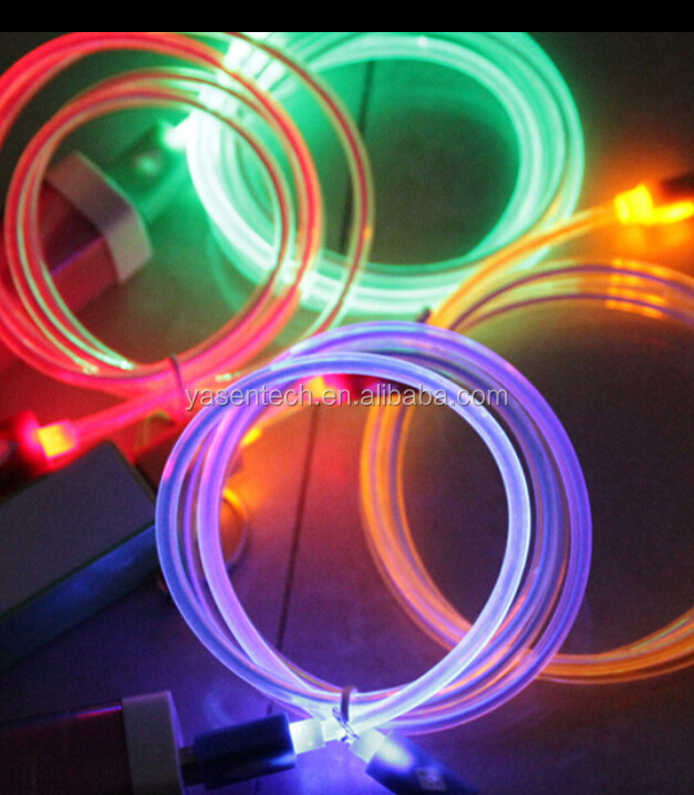 Crystal led light USB Cable Sync Data Charger Cables for iphone 6 for Samsung for HTC Android mobile phone