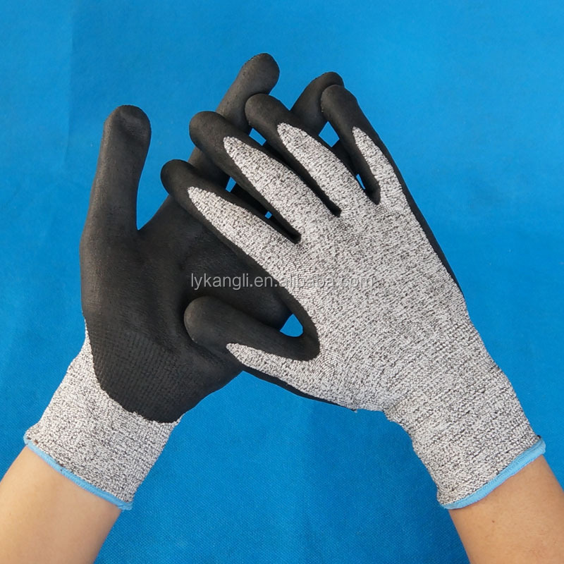 cut level 5 work anti cut gloves/nitrile coated cut resistant gloves