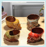 ceramic mini conch flower pot with conch shape pots for kids