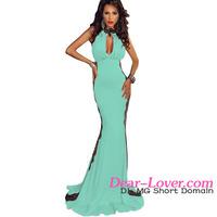 Fashion Light Blue Peekaboo Halterneck Lace Trim Party Gown long dress women