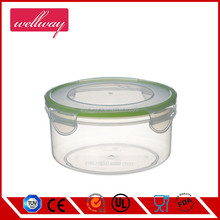 Deep Round Stackable Plastic To Go Food Storage Containers,Clear with Green Clips
