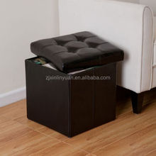 MDF large folding storage faux leather ottoman