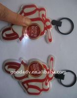 Promotional gifts PVC printed keyring with led light