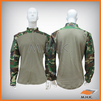 Military Long Sleeve Shirt Woodland Camouflage HBT/Rip-stop Fabric