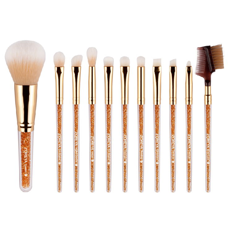 2016 New Design Zoreya Shiny Crystal Makeup Brush Set